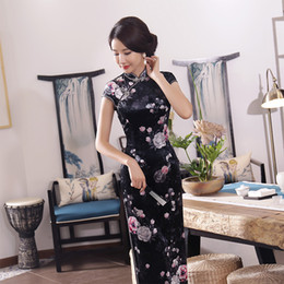 Wholesale Velvet Cheongsam - New Arrival Vintage Women Velvet Print Flower Qipao Traditional Chinese Dress Lady Handmade Button Slim Long Cheongsam M-3XL