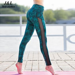 Wholesale Full Forces - Fashion New Stripe Mesh Patchwork Women Pants Sporting Leggings Fitness Summer Print Dry Quick Force Exercise Pants For Women