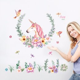 adesivi di grandi dimensioni unicorno petalo uccelli adesivi animali decorazioni per la casa soggiorno camera da letto decalcomanie carta da parati adesivi murali per bambini da