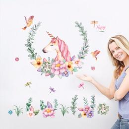 Wholesale Vintage Animal Decals - large size cartoon unicorn petal birds stickers animal home decor living room bedroom decals wallpaper Children wall stickers