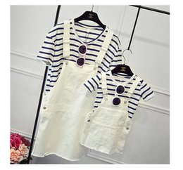 Wholesale korean casual outfits - Family Matching Outfits Mother Daughter Dress Spring New Fashion Korean Striped Short Sleeve T-Shirt+strap Dress Cotton100% 2pcs