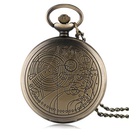 Wholesale Children Vintage Necklace - Bronze Full Hunter Doctor Who Pocket Watch Quartz with Necklace Chain Vintage Retro Women Pendant Children Gift for Xmas