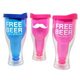 Wholesale double wall plastic - Creative Free Beer Tomorrow Plastic Cup Beer Bottle Shaped Water Bottle Double Wall Coffe Beer Mug CCA8830 40pcs