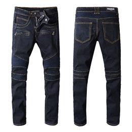 Moda para hombre Cool Jeans Distressed Motocicleta Biker Jeans Rock Revival Skinny  Men Diseñador Jeans Slim Ripped Hole Straight Hombres Pantalones de ... 044374262