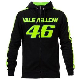 Wholesale Mens Zip Up Hoodie Black - NEW 2018 Valentino Rossi VALEYELLOW VR46 Black MotoGP Hoodie Racing Mens Zip-up Sweater F