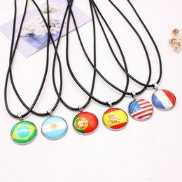 Wholesale national stainless - 2018 World Cup National Flag Necklace Men'S And Women'S Stainless Steel Pendant Leather Necklace 10 Styles Support FBA Drop Shipping G914R