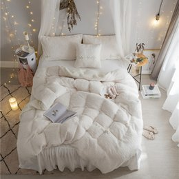 Wholesale King Grey Bedding Sets - Thick fleece winter warm bed set White Grey Princess girls Bedding set king queen twin size adults duvet cover bed skirt