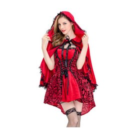 Wholesale Dress Red Riding Hood - Halloween costumes Gothic Little Red Riding Hood role-playing costumes stage dress cloak