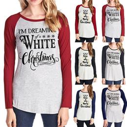 0d8504874 Carta de Navidad Impreso Llanura Camiseta 6 Estilos Mujeres Elástico Camisetas  Básicas Tops Casuales de Manga Larga Camiseta Ropa de Hogar OOA5721  camisetas ...