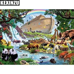 pittura fiume animale Sconti KEXINZU Fai da te 5D diamante pittura animale fiume diamante punto croce pieno rotondo Diamante quadrato mosaico decorazione della casa accessori