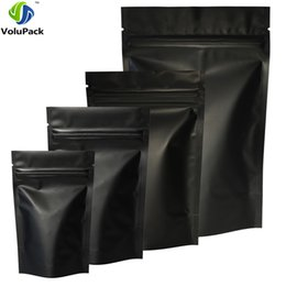 Alta calidad 100 unids bolsas de paquete de bloqueo de cremallera de sello de calor bolsas de papel de aluminio Mylar lágrima muesca mate negro Stand Up Bag al por mayor desde fabricantes