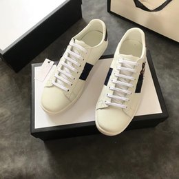 Wholesale White Embroidered Flower Appliques - New Genuine leather Flats Designer sneakers men women Classic Casual Shoes python tiger bee Flower Embroidered Cock Love sneakers35-42
