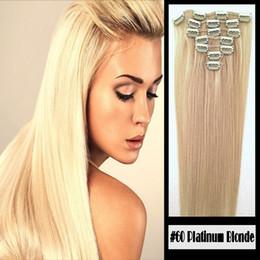 Klip 100% Remy İnsan Saç Uzantıları # 60 Platin Sarışın 8