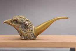 Aigle en laiton antique en Ligne-Véritable main de la Chine Yixing exquis main chinoise sculpture laiton aigle outil de fumer as137Pottery ZI NI tasse tasse de thé théière 200cc A21