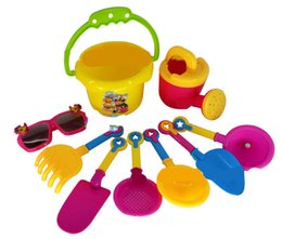 Wholesale plastic buckets - Baby Kids Sandy beach Toy New Arrival Set 9PCs Dredging tool Beach Bucket Sunglass Baby playing with sand water toys