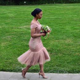 Off chá vestidos de casamento de comprimento on-line-Arábica Saudita Sereia Vestidos de Dama de Honra Chá Comprimento do Ombro Plus Size Convidado Do Casamento Vestido Zipper Voltar Africano Barato Prom Vestido
