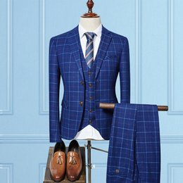 Wholesale Men S Formal Coats - 2017 Blue Plaid Suit Men 3 pieces Slim Fit Custom Made Business Formal Suits for Wedding 2017 Latest Coat and Pants 3pcs Terno