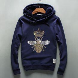 Wholesale Head Boom - Fashion brand bee diamond Hoodie and cashmere coat sleeve head Hoody Mens Sports Leisure boom
