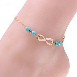Lindas pulseras de tobillo online-Cute Infinity Ankle Bracelet Diseño de oro Cadenas de eslabones con cuentas de turquesas Tobilleras de playa Joyas descalzas para mujeres