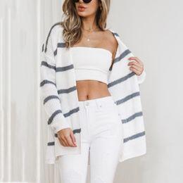 e3915229dd knitting sweater necklines Canada - Woman Striped Sweater Cardigan Coat 2018  Spring Autumn Solid Open Neckline
