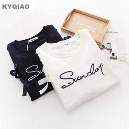 Wholesale Fresh Hoodies - KYQIAO Women pullover female autumn spring Japanese style cute fresh long sleeve black white letter lace-up hoodies sweatshirt