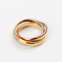 Wholesale Top Brands China - Top Quality 316L Titanium steel Famous Brand three ring connect for Wedding Rings For Women and man Ring free shipping PS5415