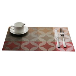 Estofamento de vinil on-line-FJS-1 Pcs Mesa De Jantar De Vinil Place Mat Placemats Pad Weave Efeito Tecido Moderno # 1