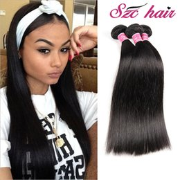 Wholesale Synthetic Peruvian Weave - Indian Virgin Human Hair Bundles Silky Straight Weave Unprocessed Hair Bundles Indian Malaysian Brazilian Braiding Hair Bundles No Synthetic