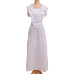 mulheres vestido colonial Desconto Período vitoriano Mulheres Adultas Vestidos de Empregada Branca Vintage Estilo Colonial Francês Pinafore Bonnet Halloween Carnaval Traje