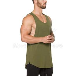 Wholesale Workout Tank Tops Wholesale - Muscleguys Brand clothing Fitness Tank Top Men Stringer Tanktop Bodybuilding Sleeveless Shirt Workout Vest gyms Undershirt