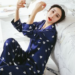 2018 Autumn WAVMIT Long Sleeve Silk Pajamas Set Two Pieces Set Women  Sleepwear Sexy Nightwear for Women Sleepwear Long Pant cd7f3a9f5