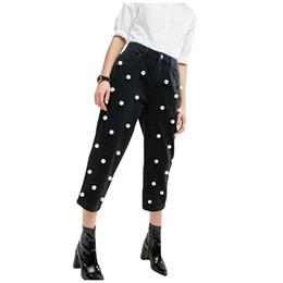 Pierna de perla negra online-Mujeres de la manera de la perla de la vendimia perlas de mezclilla cintura alta pantalones cruzados negros ocasionales holgados pantalones vaqueros de pierna ancha