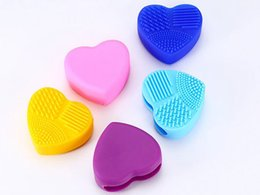Wholesale Heart Shape Brush - Fashion Brush Egg Cleaning Heart Shape Makeup Washing Brush Pad Silicone Glove Scrubber Cosmetic Foundation Powder Clean Tools Free ship