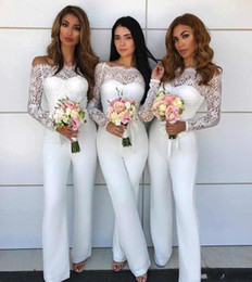 jumpsuit black wedding Promo Codes - Off Shoulder Lace Jumpsuit Bridesmaid Dresses for Wedding 2019 Sheath Backless Wedding Guest Pants Suit Gowns Plus Size BA8978 BM0931