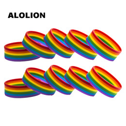Bracelets de fierté en Ligne-LGBT Fierté Arc-En-Pansexuel Asexuel Genderqueer Bisexuel Bracelet Bijoux Bracelet En Silicone 10 PCS