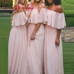 La venta caliente 2018 del hombro gasa rosada por encargo hizo una línea vestidos largos formales largos de la dama de honor desde fabricantes