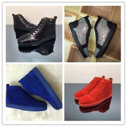 Wholesale shoes rivets spikes - 2018 Leather Luxury Fashion loafers Silver Black Diamond Rhinestones Spiked Loafers Rivets shoes Red Bottom Wedding Party Oxford Shoes Dress