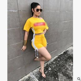 Wholesale One Piece Ladies Clothes - 2018 summer women shorts suits New one shoulder split strap Letter Printing Fashion Two Piece Set Sexy ladies clothing tracksuits