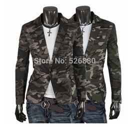Wholesale Pleated Shorts Men - Blazer Men Fashion Casual Mens Cotton Short Slim Army Camouflage Jacket Coat Lapel Man Suit Brand Costume Homme