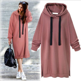 Wholesale designer style long sleeve dresses - Brand Designer-Winter lady casual solid color oversize long sleeve loose knitted long dress hoodie women brief style long fleece shirt