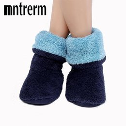 Wholesale booties shoes for men - Mntrerm new Soft Plush Home Slippers Flannel Sole Indoor Fleece Floor Socks Large Size Men Indoor Slippers For Winter Shoes Gift