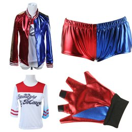 Wholesale Batman Costume Game - Suicide Squad Cosplay Harley Quinn Costume Clothes Sets for Kids Batman Halloween Anime cosplay embroidery Costume Adult