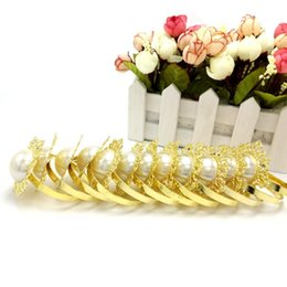 Wholesale Gold Wedding Serviette - Wholesale- Free Shipping,2016 new 10 pcs lot Gold Ring Fauxl Pearl Napkin Rings Serviette Holder For Wedding Party Banquet Supplies