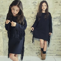 Wholesale Dresse Kids - Fashion New Girls Dresse Long Sleeve Tassel Cotton Thicken velvet Kids Girl's dress Autumn Winter Big Girl Dresses Black A8245