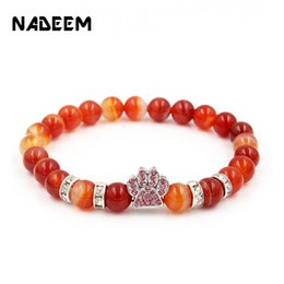 bead pets Coupons - Natural Lava,Tiger Eye Stone Beads Bracelets Micro Pave CZ Dog Hand Charms Bracelet Pet Lovers Elastic Rope Pet Jewelry