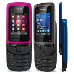 Cellphone gsm online-Ricondizionato Originale Nokia C2-05 Slide Phone 2.0 pollici Schermo 0.3MP Fotocamera FM Radio GSM 2G Cellulare Cheap Post gratuito 1 pz
