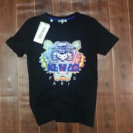 Wholesale Triangle Skateboard - Brand Japan ken Tiger Head Cloth Embroidered T-Shirt Men Women Short Sleeve Summer Cotton Tees Skateboards Shirt Floral Triangle Tees