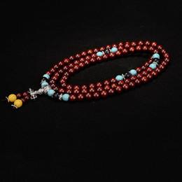 Naturel lobulaire rouge bois de santal bracelets 108 chapelet Bouddha perles collier main chaîne de style tibétain bois bijoux en gros ? partir de fabricateur