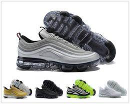 Wholesale Half Hard - Hot Sale VaporMax 97 Silver Bullet Half-Blood Sports Running Shoes for Men Women 97s vapor Black White Gold Green Sports Sneakers EUR 36-46