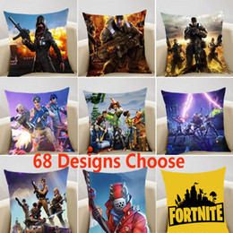Wholesale cars cartoon games - Fortnite Pillow Case Cover Cartoon Game Decorative Soft Cushion Sofa Car Cover 45*45cm Xmas Double Side Home Decor 68 Styles HH7-1307